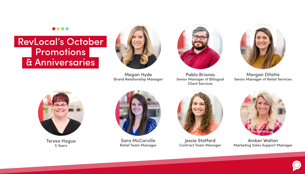 RevLocal's October 2019 promotions and anniversaries