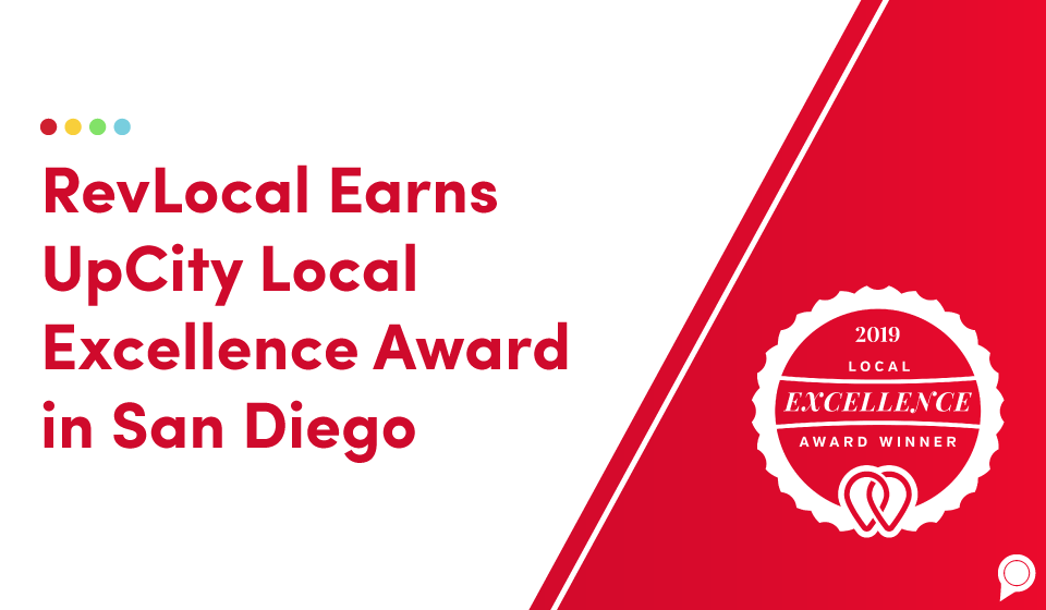 RevLocal earns UpCity Local Excellence Award in San Diego